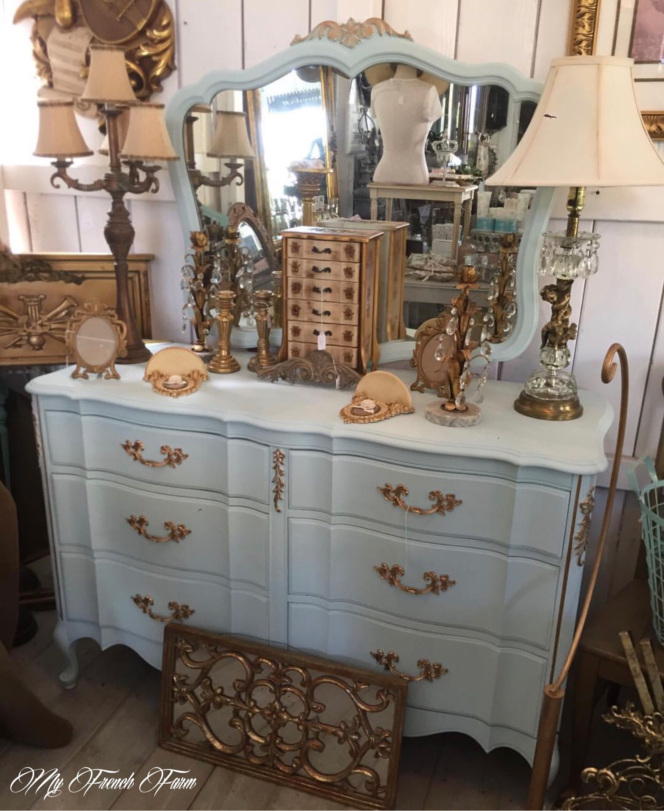 Beautiful Tiffany blue and gold dresser with mirror Our Spring