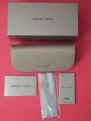 GIORGIO ARMANI CASE SUNGLASSES POUCH EYEGLASSES CLEANING CLOTH SOFT CASE BOXED