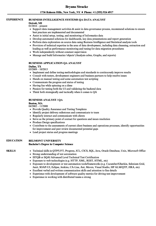 Business Analyst Qa Analyst Resume Samples Job Resume Examples Business Analyst Resume