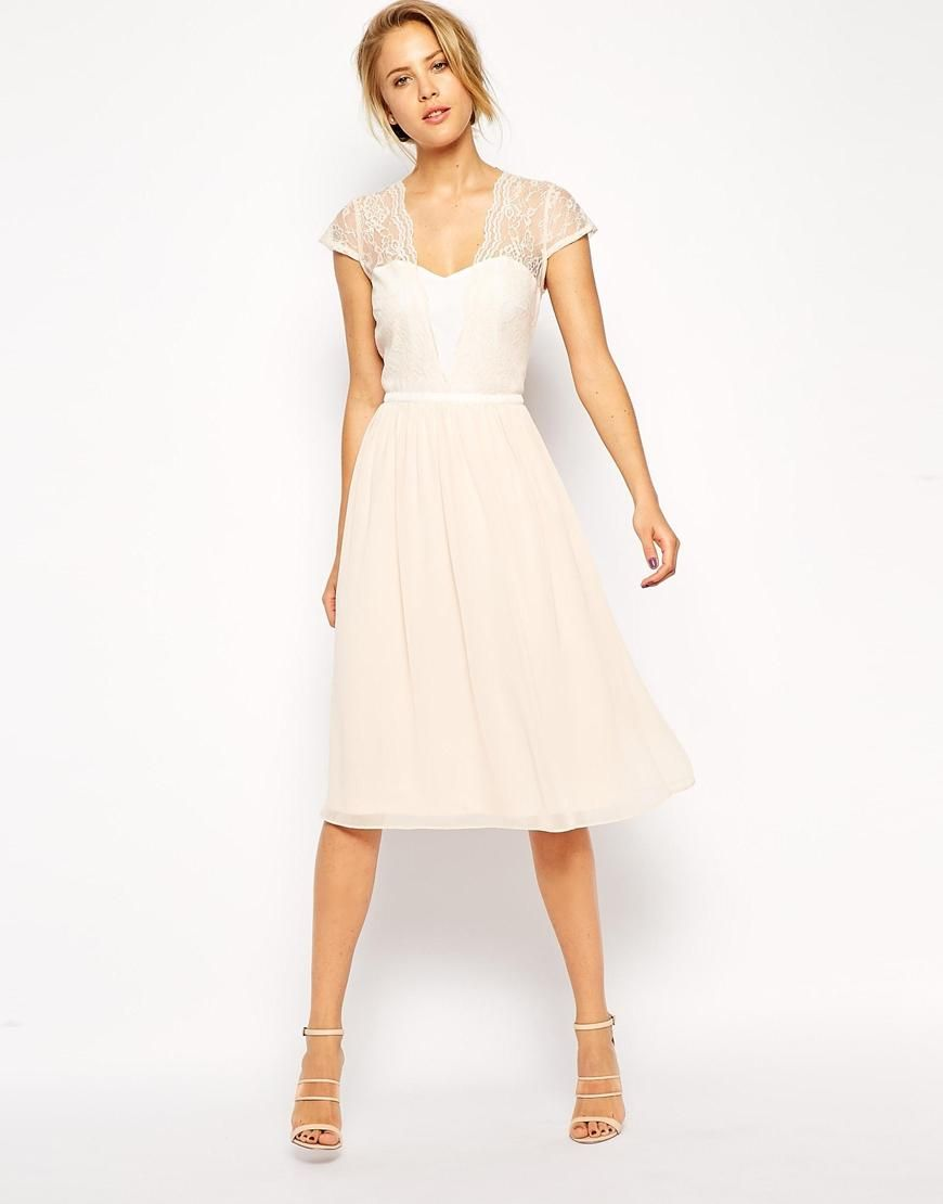 ASOS  ASOS Scallop Lace Edge Midi Dress at ASOS  Kleider