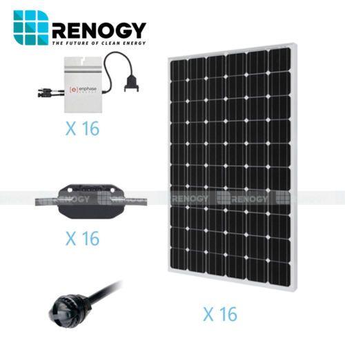 Renogy 4000 Watts 4kw Monocrystalline Pv Grid Tied Solar Panel Kit Ad Solar Energy Solar Charger Solar