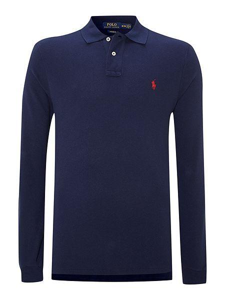 Polo Ralph Lauren Custom-Fit Long-Sleeve Polo Shirt - Navy Mens Polo Ralph  Lauren Polo Shirts 36cb349ae