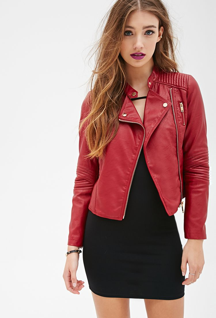 Quilted Faux Leather Moto Jacket   FOREVER21 - 2000099420 ... : quilted faux leather moto jacket - Adamdwight.com