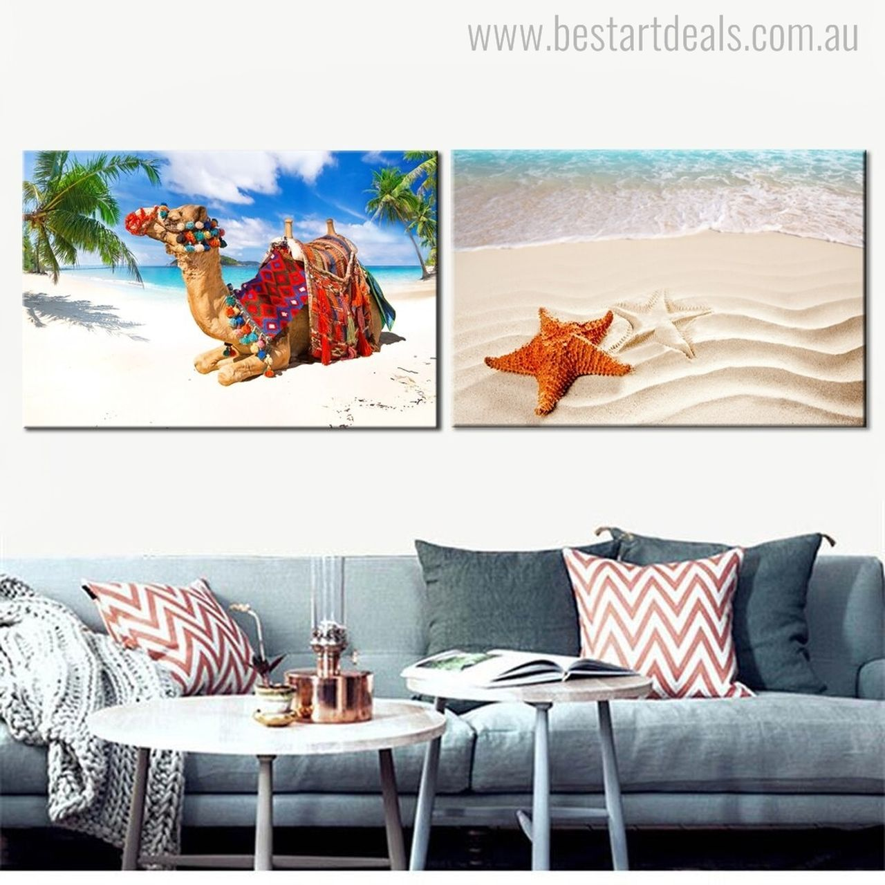 Get this unique combination of star fish and camel wall art prints at cheap price. We are available online to sell artwork.  #onlineart #artseller #wallart #printsforsale