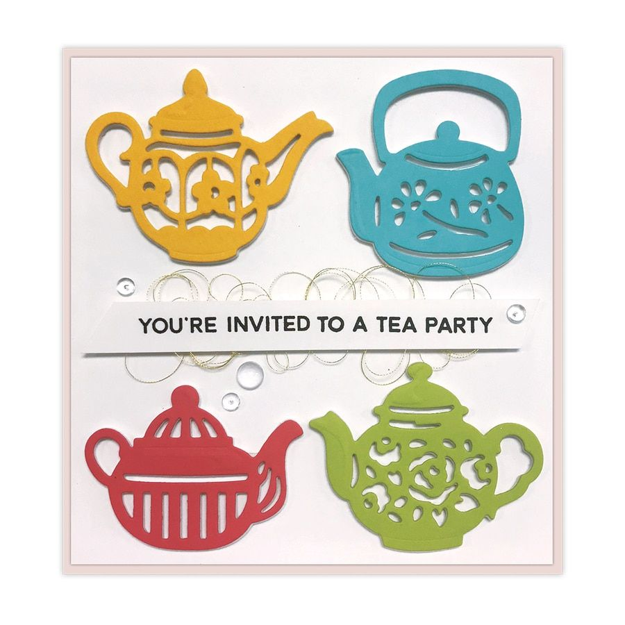 Shapeabilities Tea Pots Etched Dies Cuppa Coffee, Cuppa Tea Collection by Sharyn Sowell #cuppatea