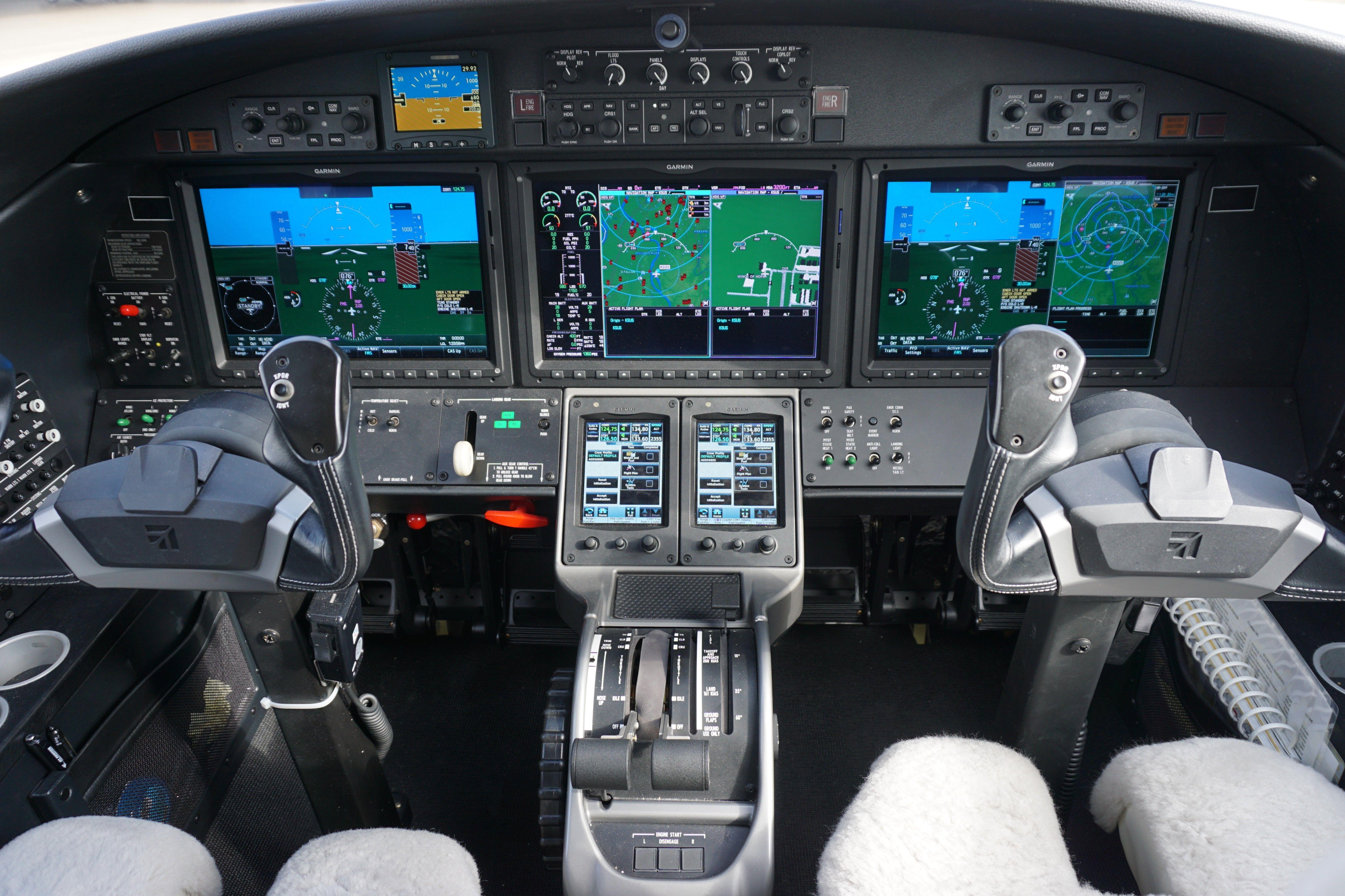 Cockpit and instrument panel of a Cessna Citation M2. Garmin 3000 ...