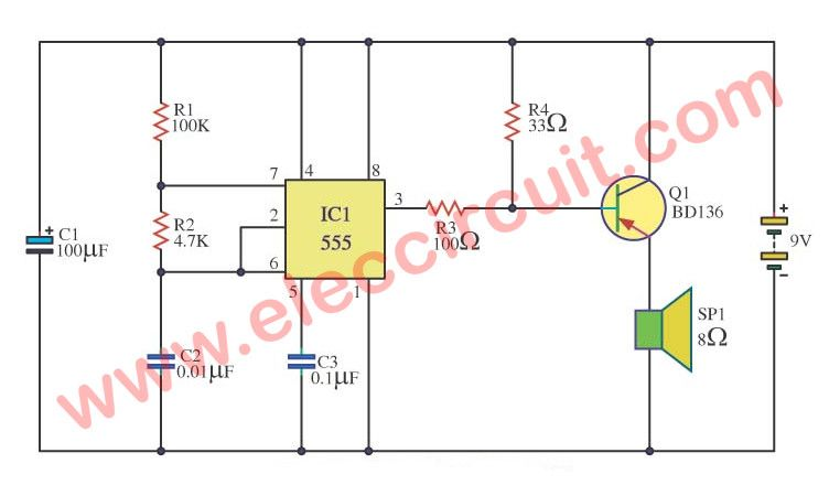 simple 555 alarm sound circuit diagram eleccircuit com soundsimple 555 alarm sound circuit