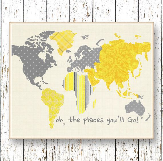 World map art yellow gray Oh, the Places you\'ll Go! Dr Seuss ...