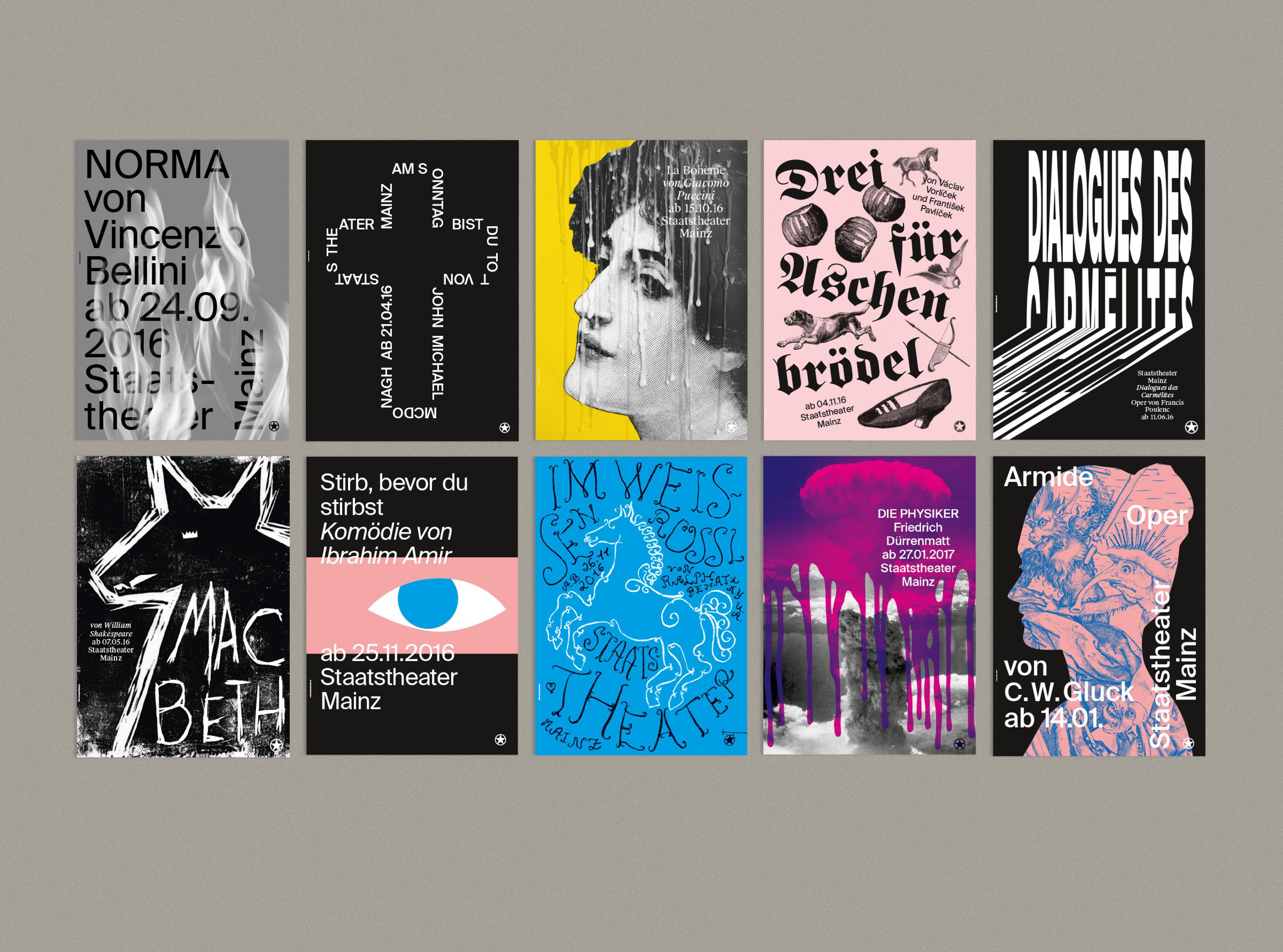 Staatstheater Mainz Premiere Posters Graphic Techniques And