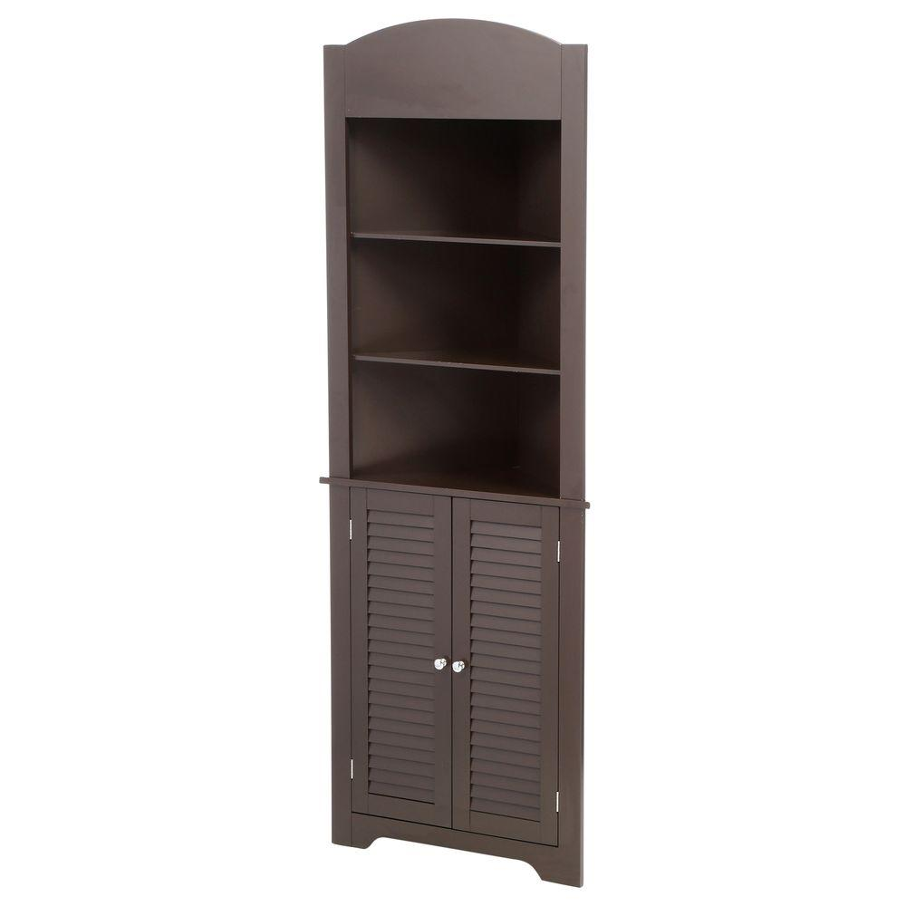 Riverridge Home Ellsworth 23 1 4 In W X 68 3 10 In H X 11 1 2 D Corner Bathroom Linen Storage Tower Cabinet In Espresso 06 028 The Home Depot Bathroom Storage Cabinet Linen Storage Tall Corner Cabinet