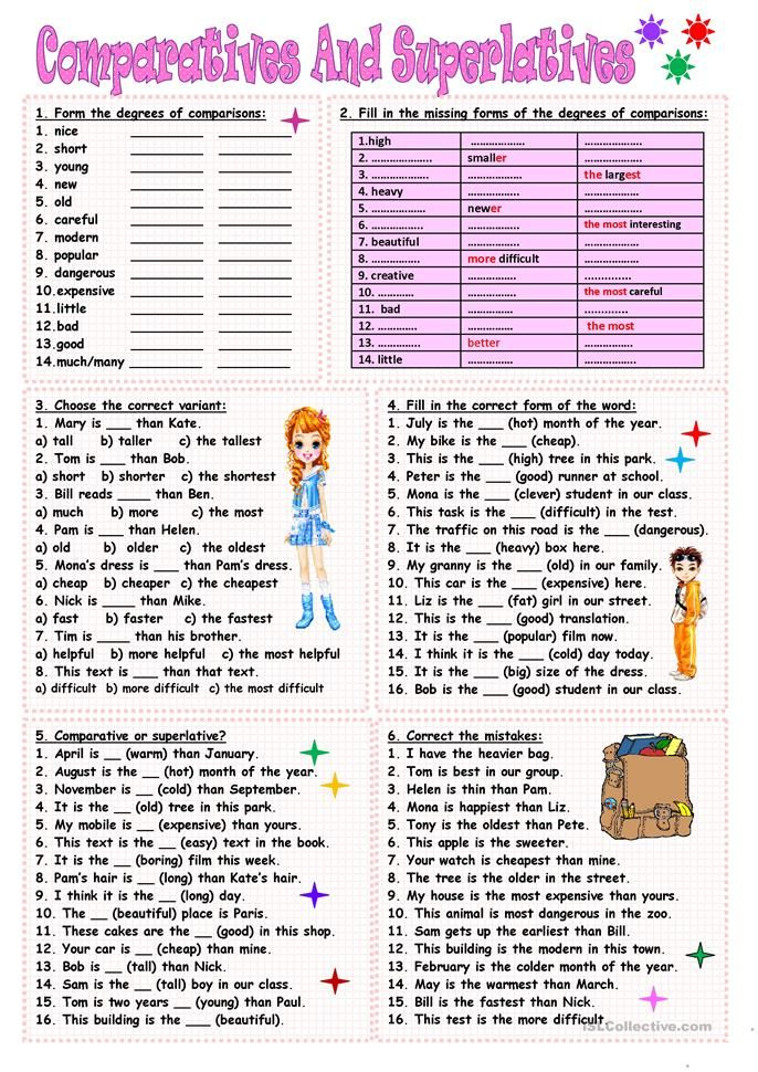 Comparatives And Superlatives Worksheet Free Esl Printable Worksheets Made By Teachers Superlative Adjectives Teaching English Grammar English Grammar Adjectives worksheets for grade icse
