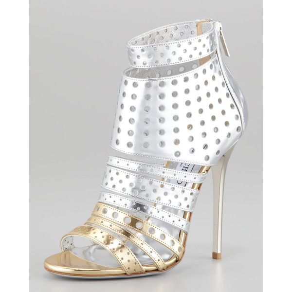Women's Jimmy Choo Malika Perforated Metallic Leather Sandal ($995) ❤ liked on Polyvore