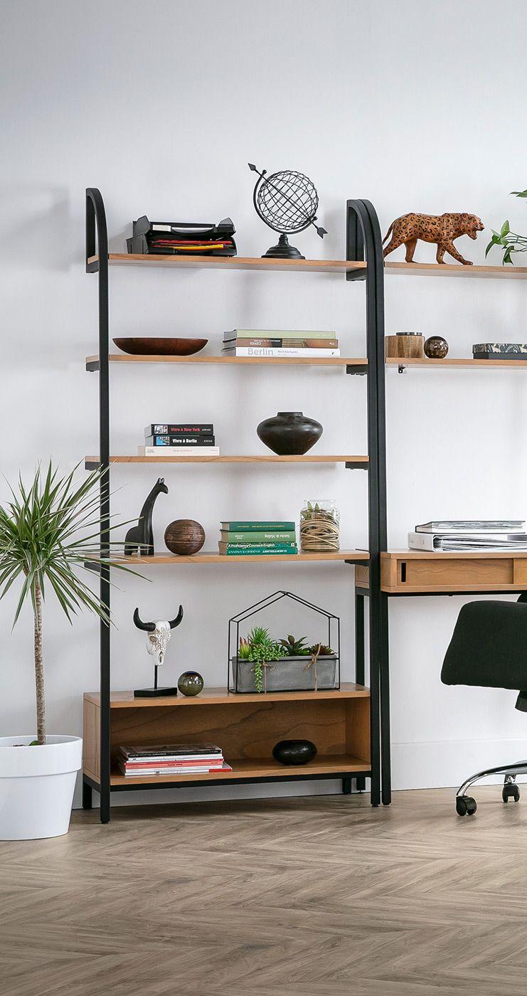 Bibliotheque Design Bois Et Metal Noir Marlee Miliboo Stephane Plaza En 2020 Mobilier De Salon Decoration Maison Meuble Design