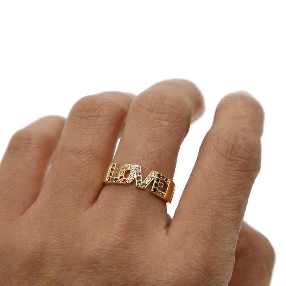 cz paved band rings Glod filled women finger rainbow cubic zirconia cz RING
