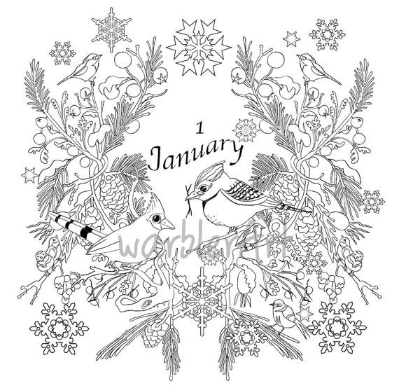 Adult coloring calendar january coloring page adult coloring book printable instant