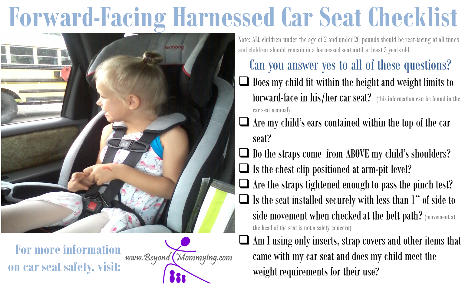 Car Seat Safety: Checklists for Proper Car Seat Use | Car seat ...