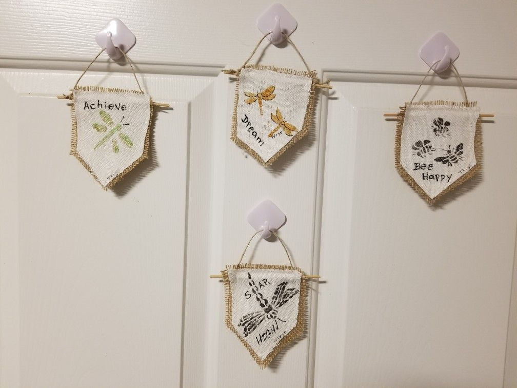 Small Banner Flags Of Inspiration Hand Painted Canvas Hand Painted Cubicle Decor