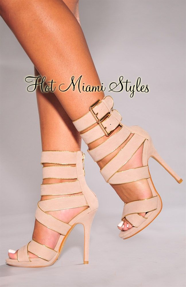 c42f925c7 Nude Gold Trim Strappy High Heel Sandals in 2019 | Fashion & trends ...