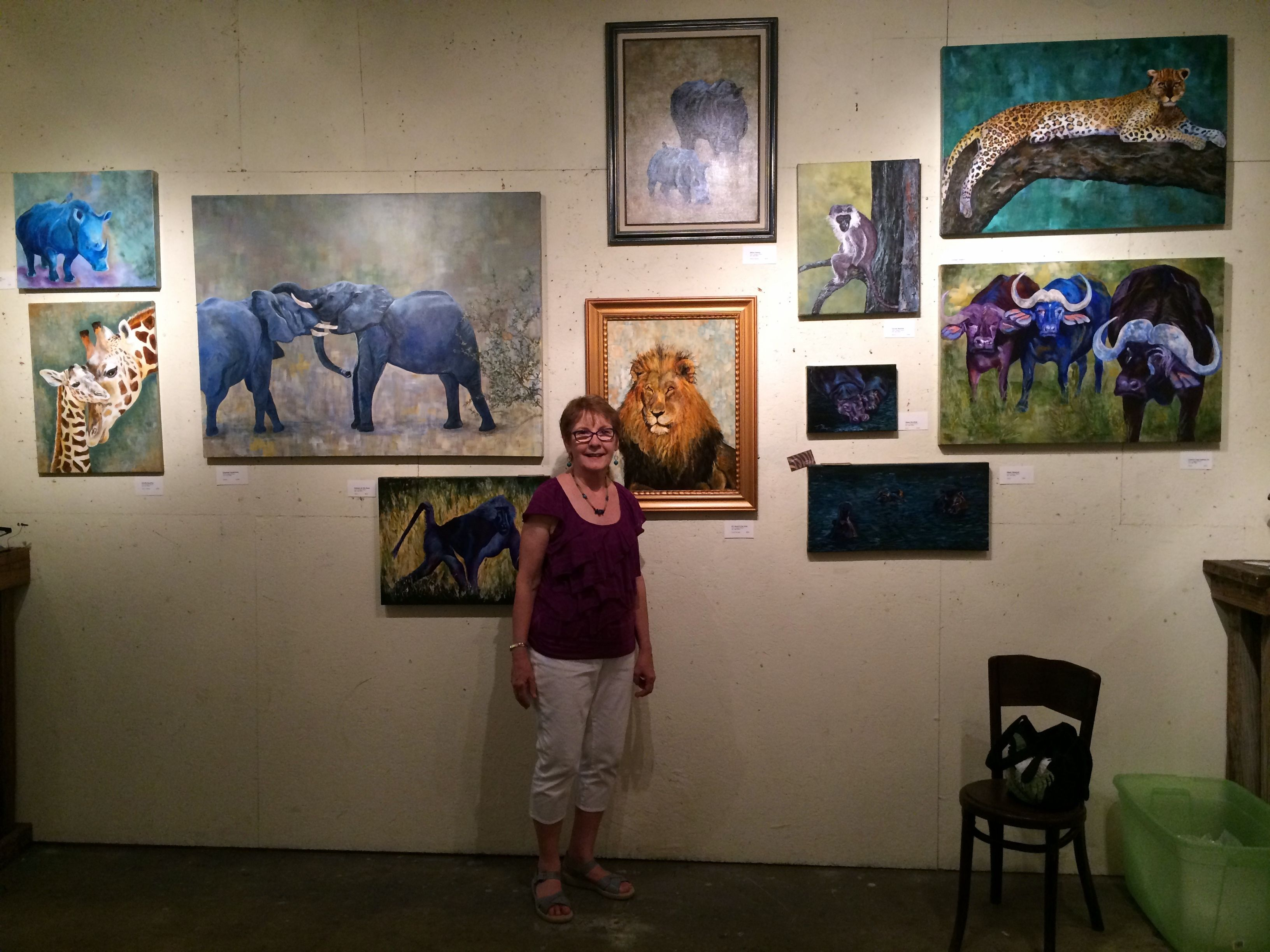 Watercolor art galleries in houston - Terry M Displays Her Collection Of Animal Art She Takes Weekly Art Classes From Ginger At Jerry S Artarama In Houston Texas