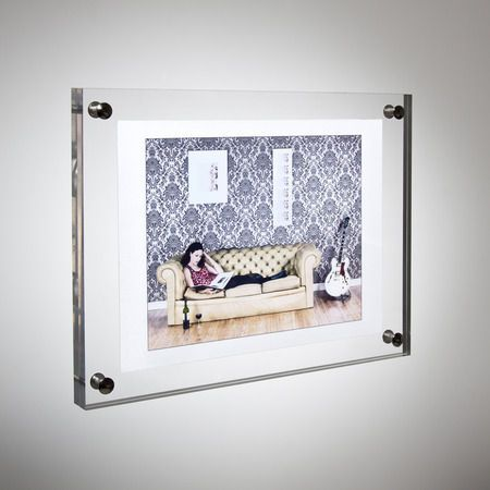 59f05cb409c A wall mounting photo frame made in clear acrylic which sits flush to the  wall creating a modern look. The Perspex frame can be mounted either way  round ...