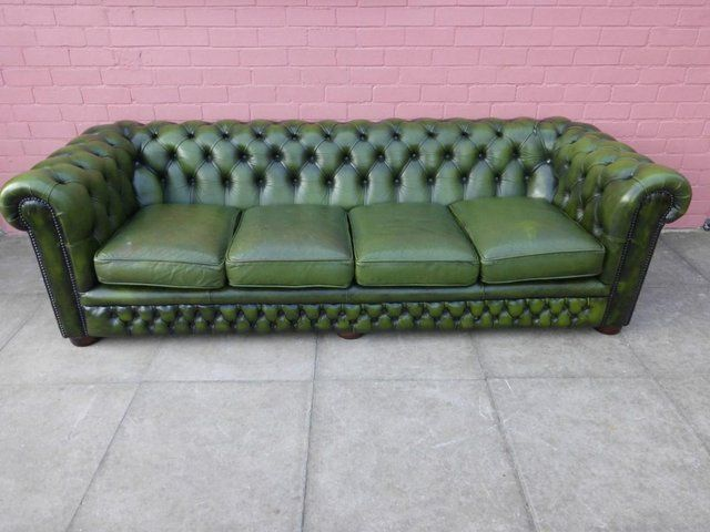 Four Seater Green Leather Chesterfield Sofa For Sale In Smethwick West Midlands Preloved Green Leather Chesterfield Sofa Sofa Sale Leather Chesterfield Sofa