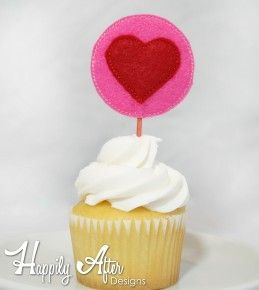 Heart Cupcake Toppers Embroidery Design
