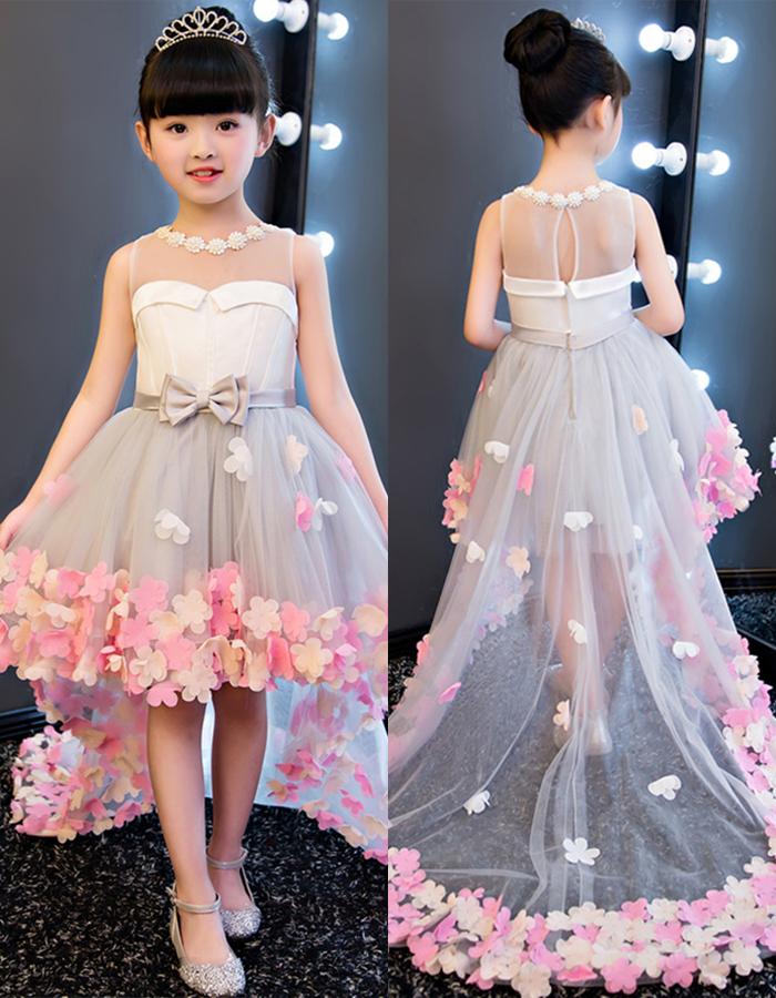 2e6dc78f189 Dramatic Jewel Neck Bowknot High Low Flower Girl Dress