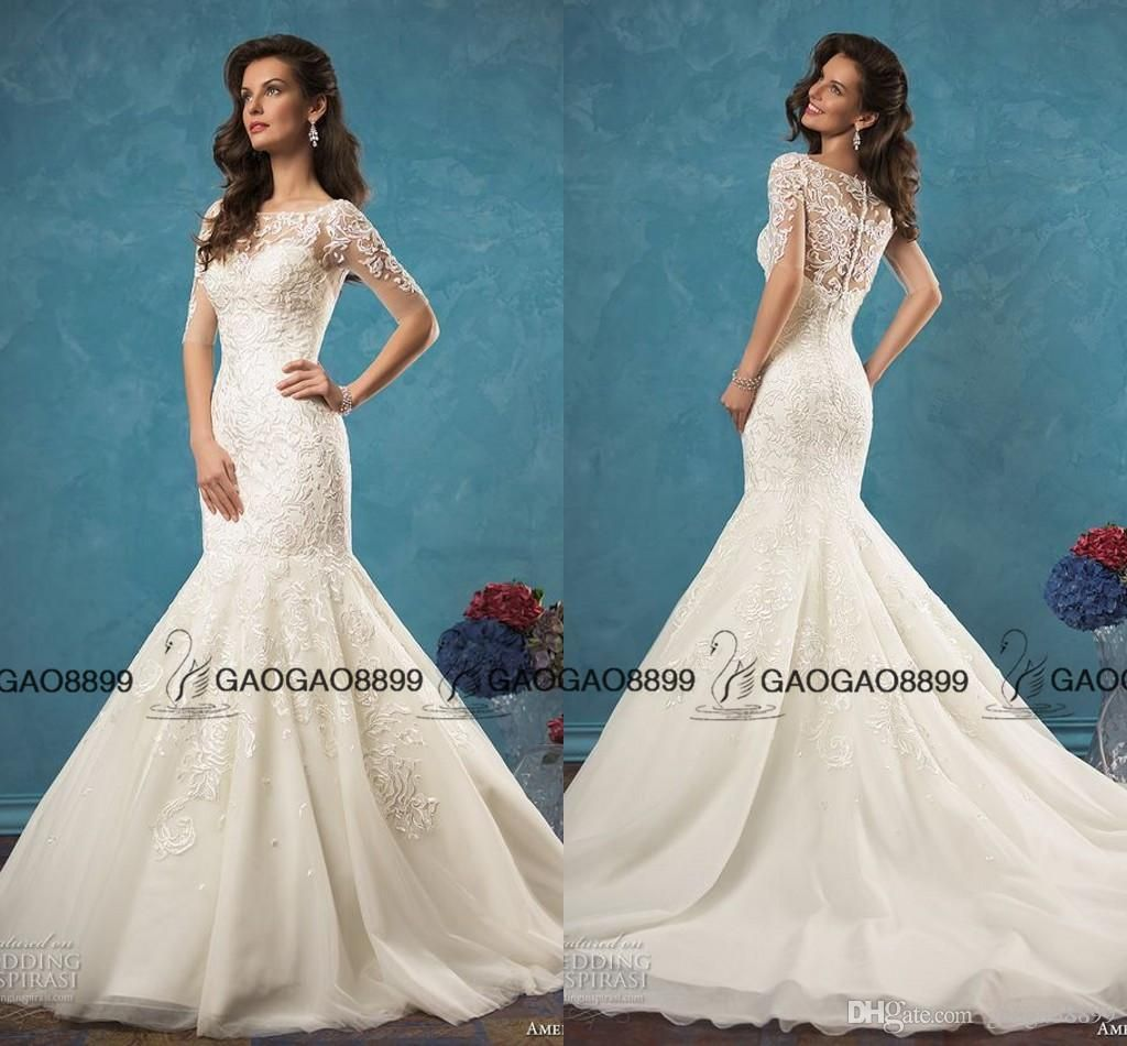 Amelia Sposa Bridal Half Sleeves Illusion Bateau Sweetheart Neckline ...