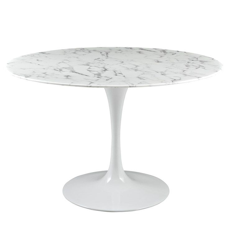 Lippa 47 Round Artificial Marble Dining Table In White Dining