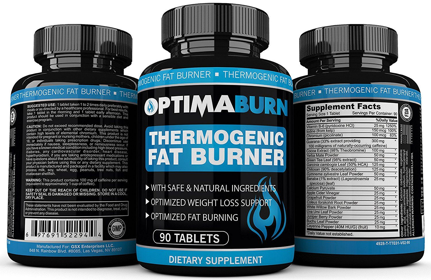 Optimaburn Thermogenic Fat Burner Supplement 90 Tablets Natural