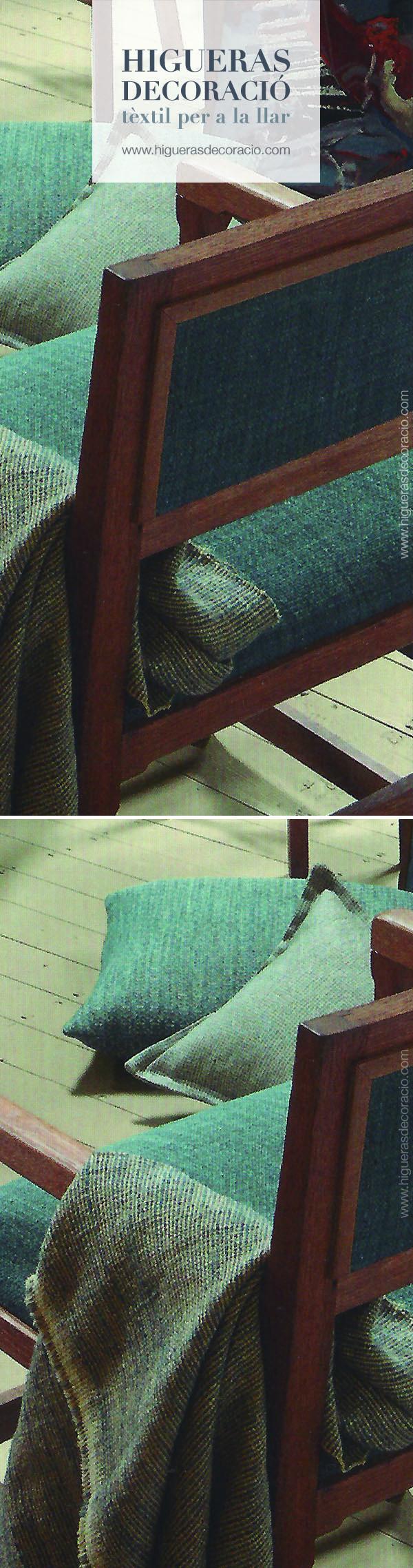 Tapiza una silla con brazos con tela de algodón. Utiliza la gama de colores que te ofrece la colección para confeccionar los cojines, la funda del sofá, la cortina... www.higuerasdecoracio.com