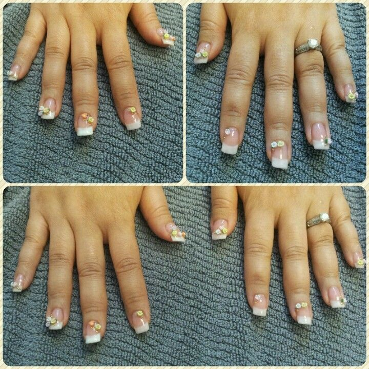 French-style gel enhancement (w/tips) with 3D art decals. Nails. Y ...