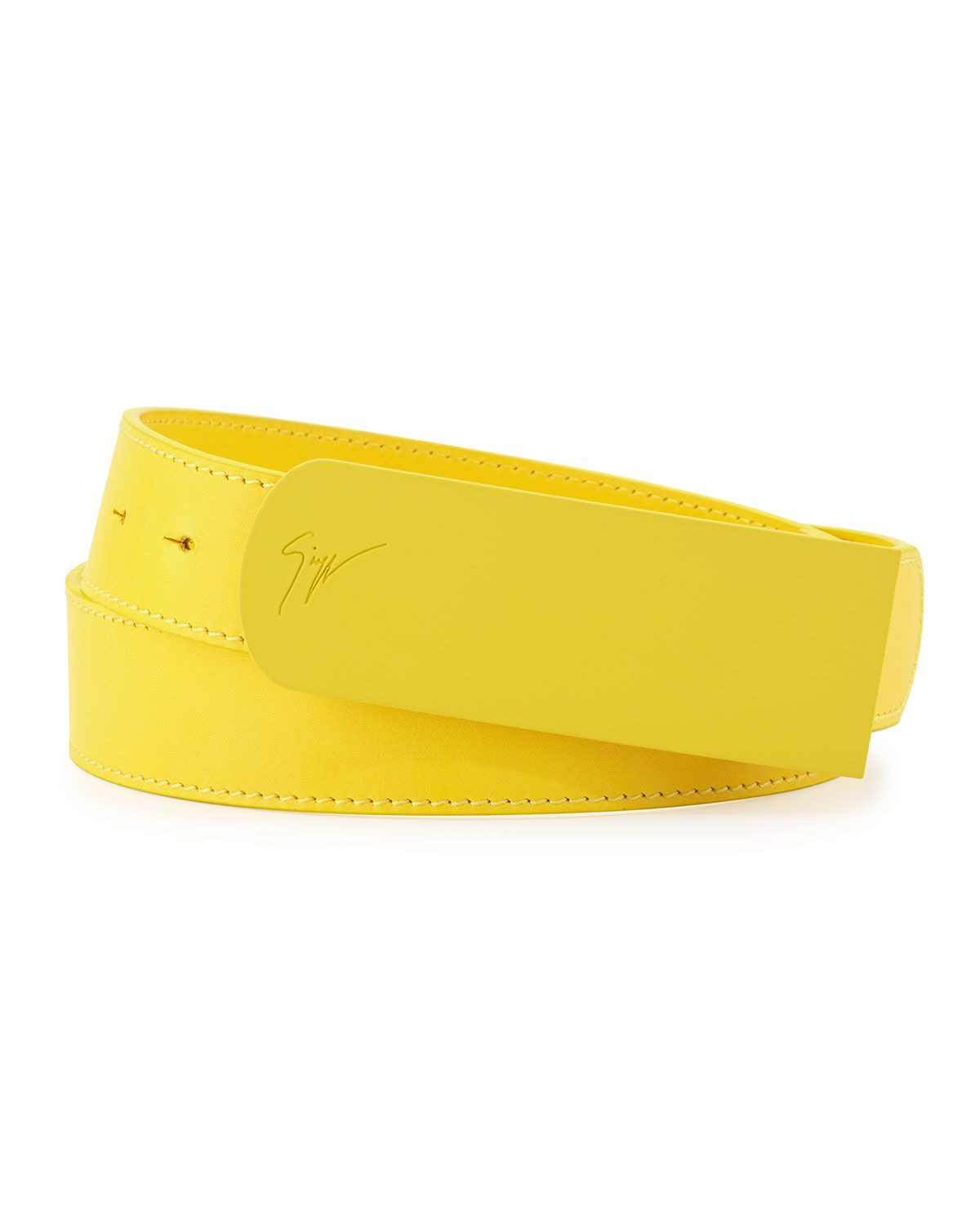16af53cb048 Men's Leather Matte-Buckle Belt, Yellow, Size: 36IN/90CM - Giuseppe ...