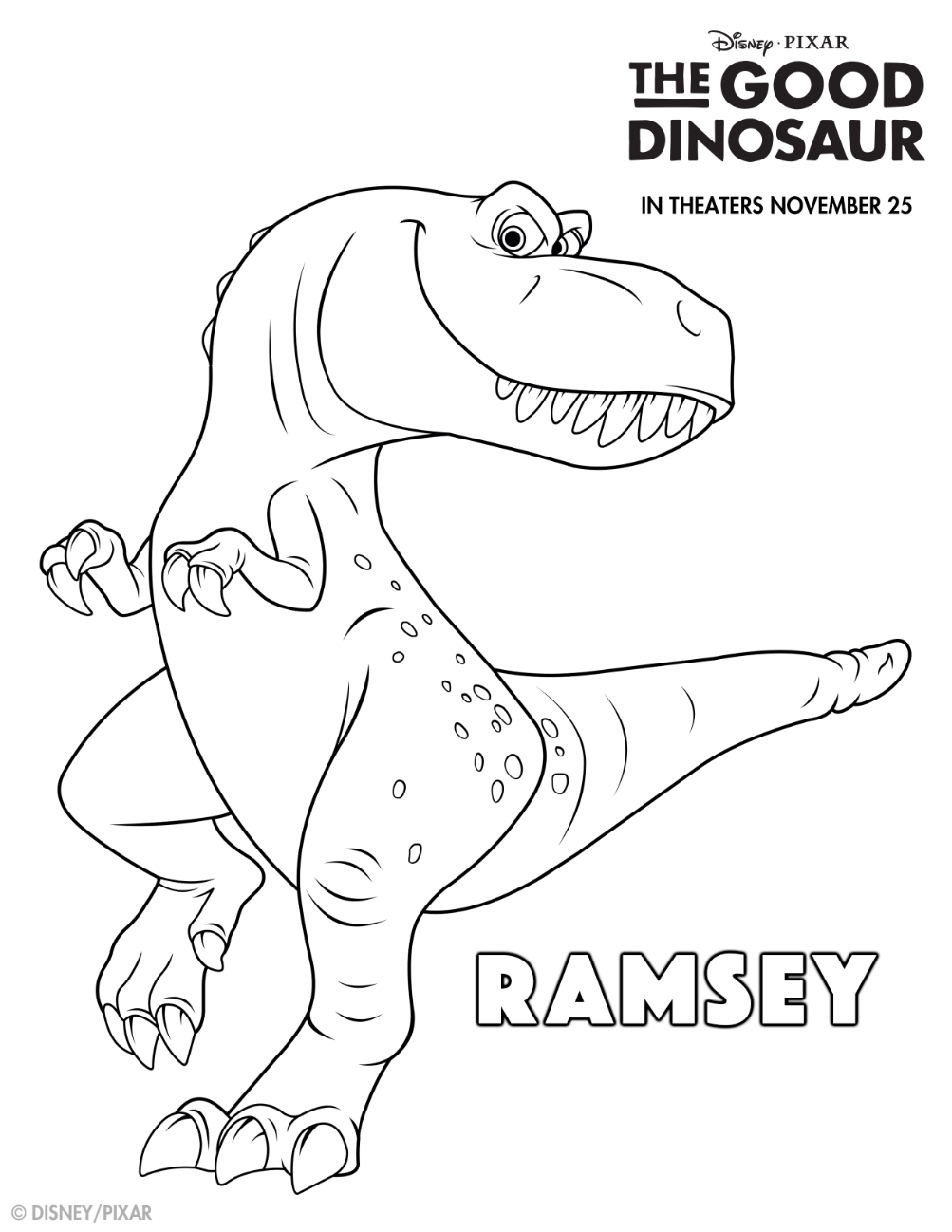 Kick Your Dino Crave Into High Gear With This Good Dino Coloring Sheet Meet Ramsey In Theatres Th The Good Dinosaur Dinosaur Coloring Dinosaur Coloring Pages