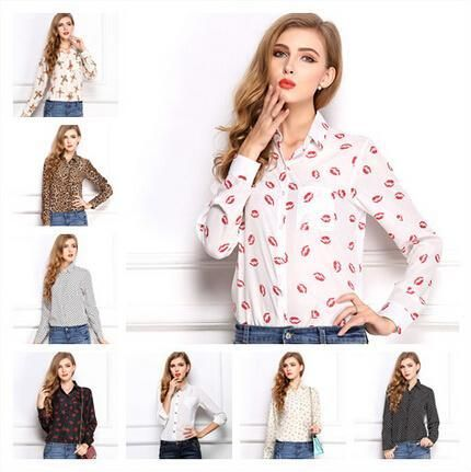 2015 White Black Long Sleeve Women's Blouses&Shirts Kiss Red Lip Print Casual Tops Loose Plus Size Lady Button Leopard Blusas