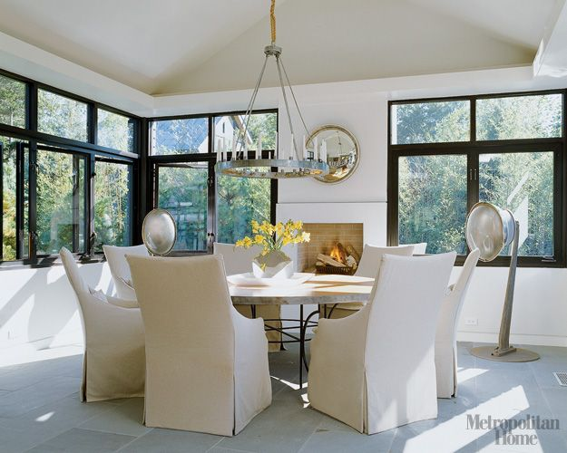 Linen slipcovered dining chairs - Lee