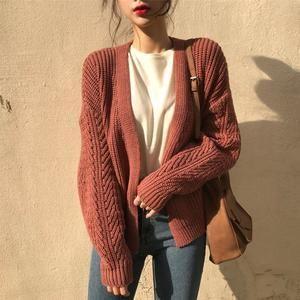 Loose Twist Knitted Cardigans V-neck Open Stitch Sweater Knitwear Outwear