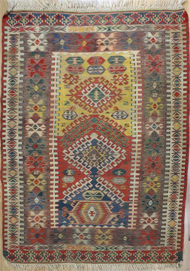 R8106 Vintage Turkish Kilim Rug Reference For Future Quilt VpDeF
