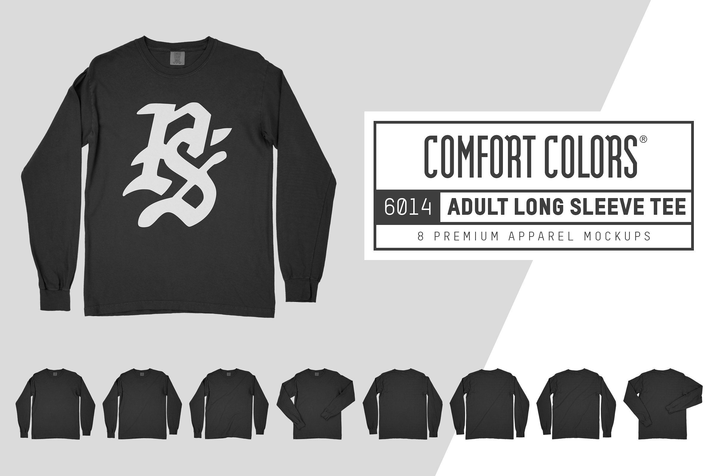 Download Comfort Colors 6014 Long Sleeve Tee Comfort Colors Long Sleeve Tees Clothing Mockup