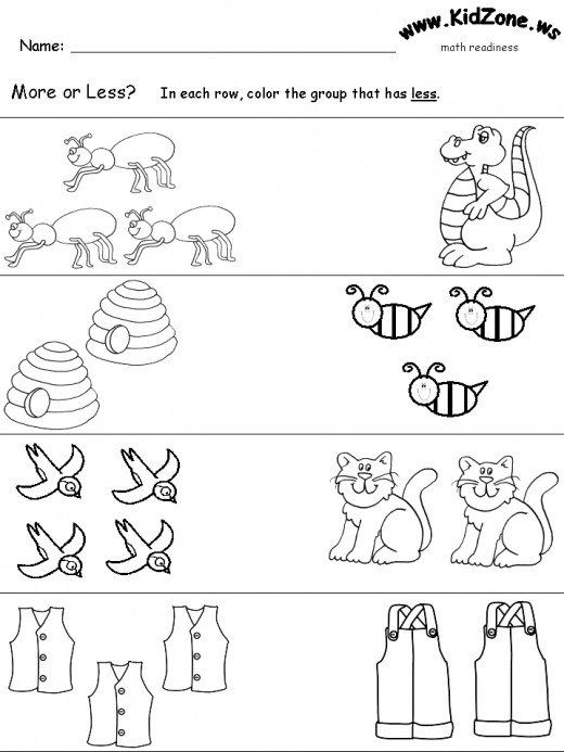 How To Teach More And Less Kindergarten Math Worksheets Preschool Worksheets Kindergarten Worksheets