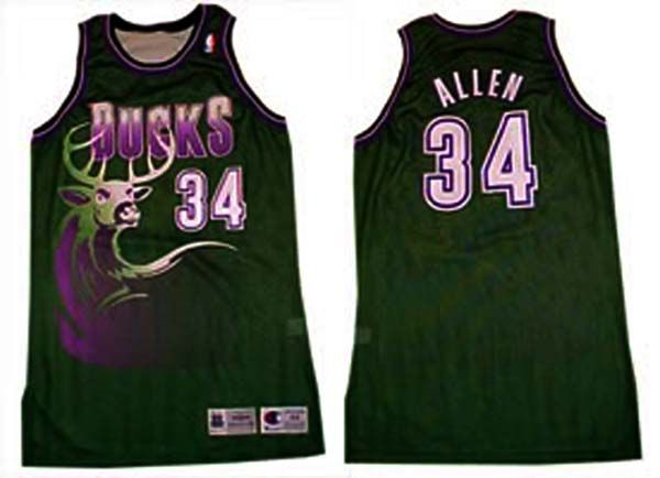quality design 8dcfb 318bf Milwaukee Bucks 90's Jerseys in the Green and Purple. | Old ...