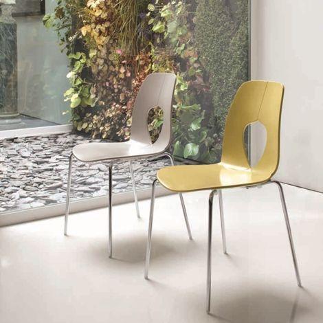 sedie da cucina moderne scontate modello Hole - 7207 | Sala gialla ...