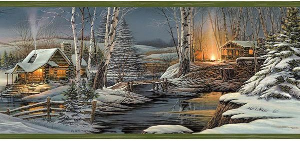 Country Lodge Wallpaper Borders Wood Wallpaper Wallpaper Border Winter Cabin