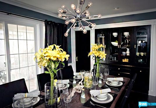 black,grey,yellow dining room. yellow goes great with the black
