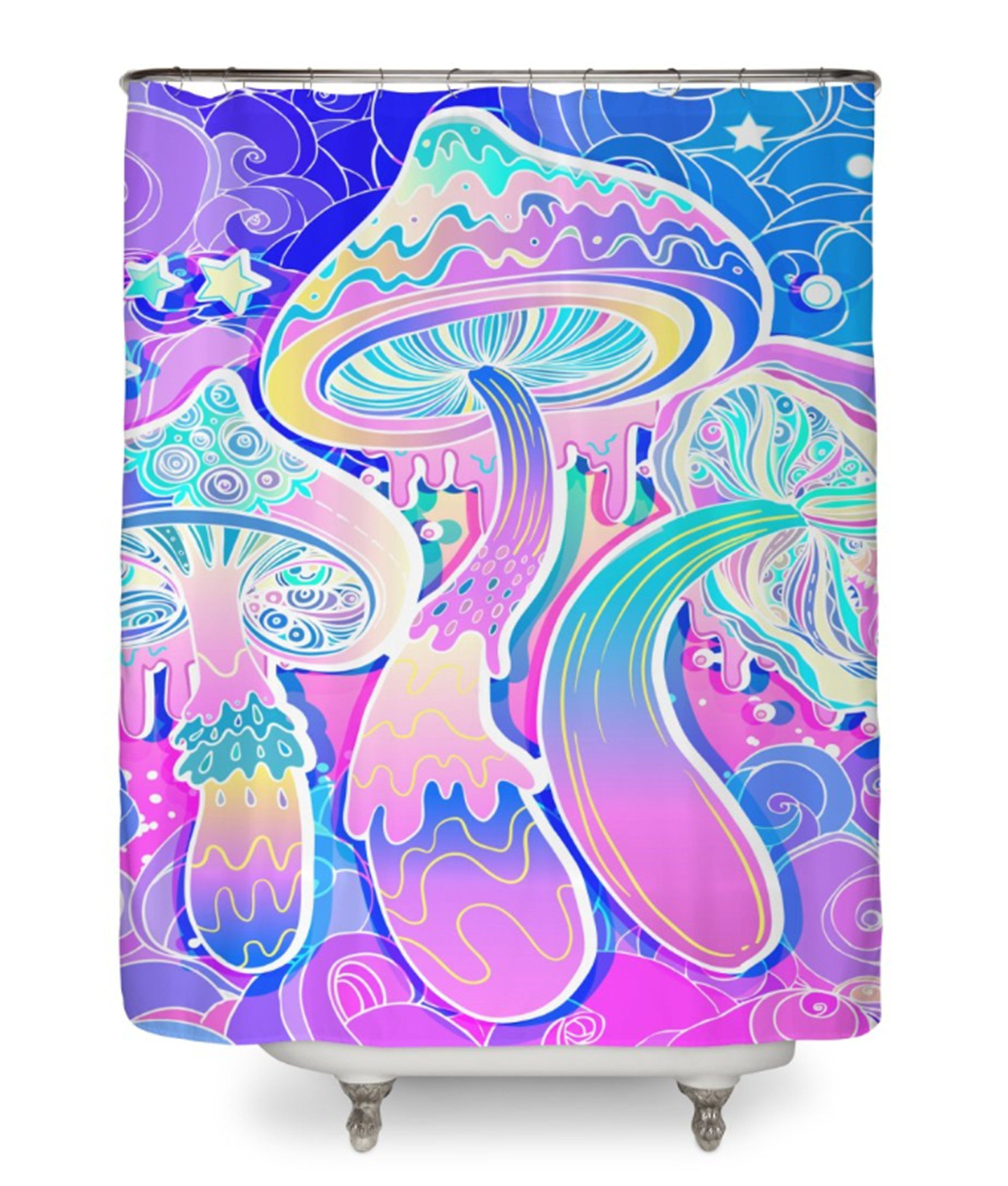 Magic Mushrooms Shower Curtain Shrooms Curtains Psychadelic Psychedelic Bath Decor
