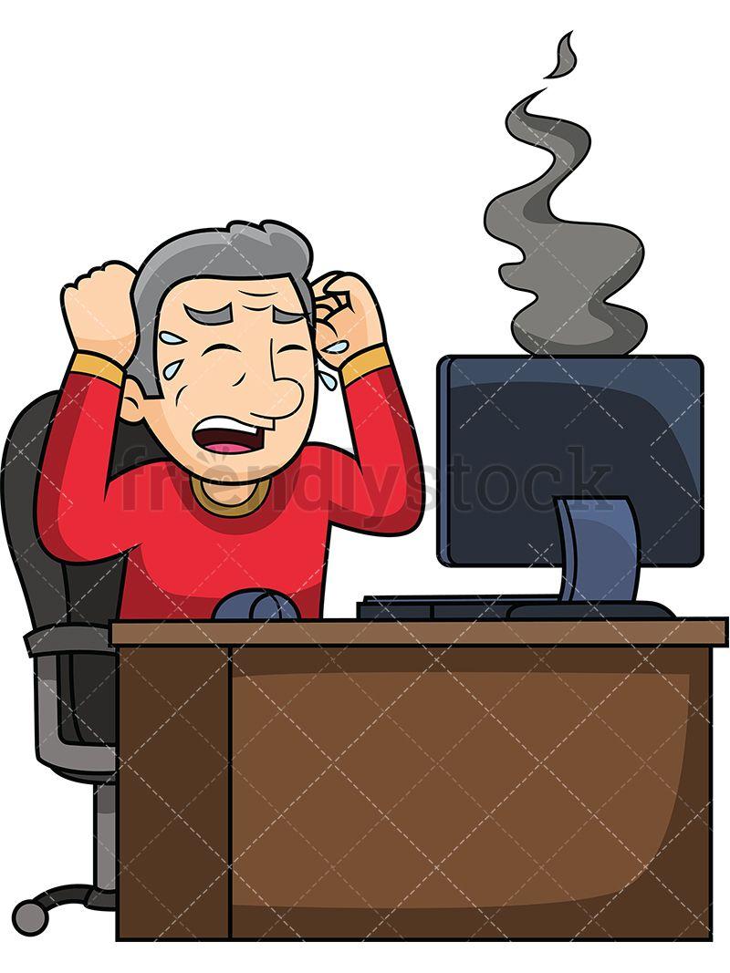 Old Man With Dead Computer Cartoon Vector Clipart Friendlystock Cartoons Vector Cartoon Clip Art Clip Art