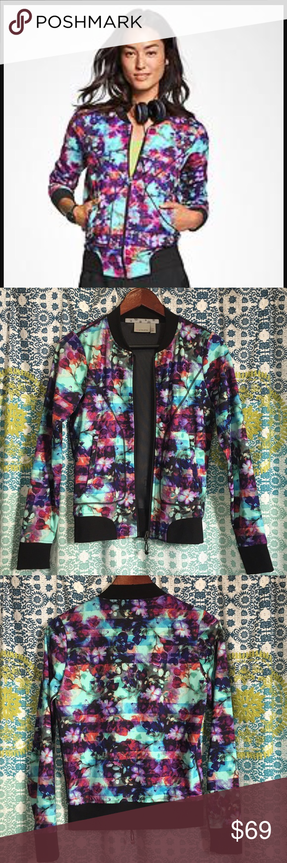 "Athleta ""Floral Fade Bombtastic"" Jacket EUC!! Size XXS but will fit up to a medium depending on how you like your fit. I like this fitted with a black tank underneath and jeans. Compliments galore! Selling for $59 on Merc!   In EUC!!  Firm price  No trades Athleta Jackets & Coats"