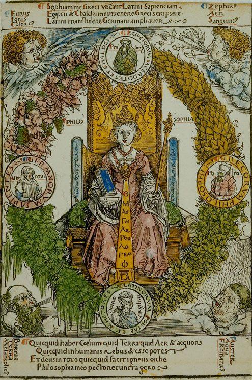Albrecht Dürer - Die Philosophie (c. 1502, collection of Hartmann Schedel,  Bavarian State Library) | Albrecht durer, Art history, Iconography