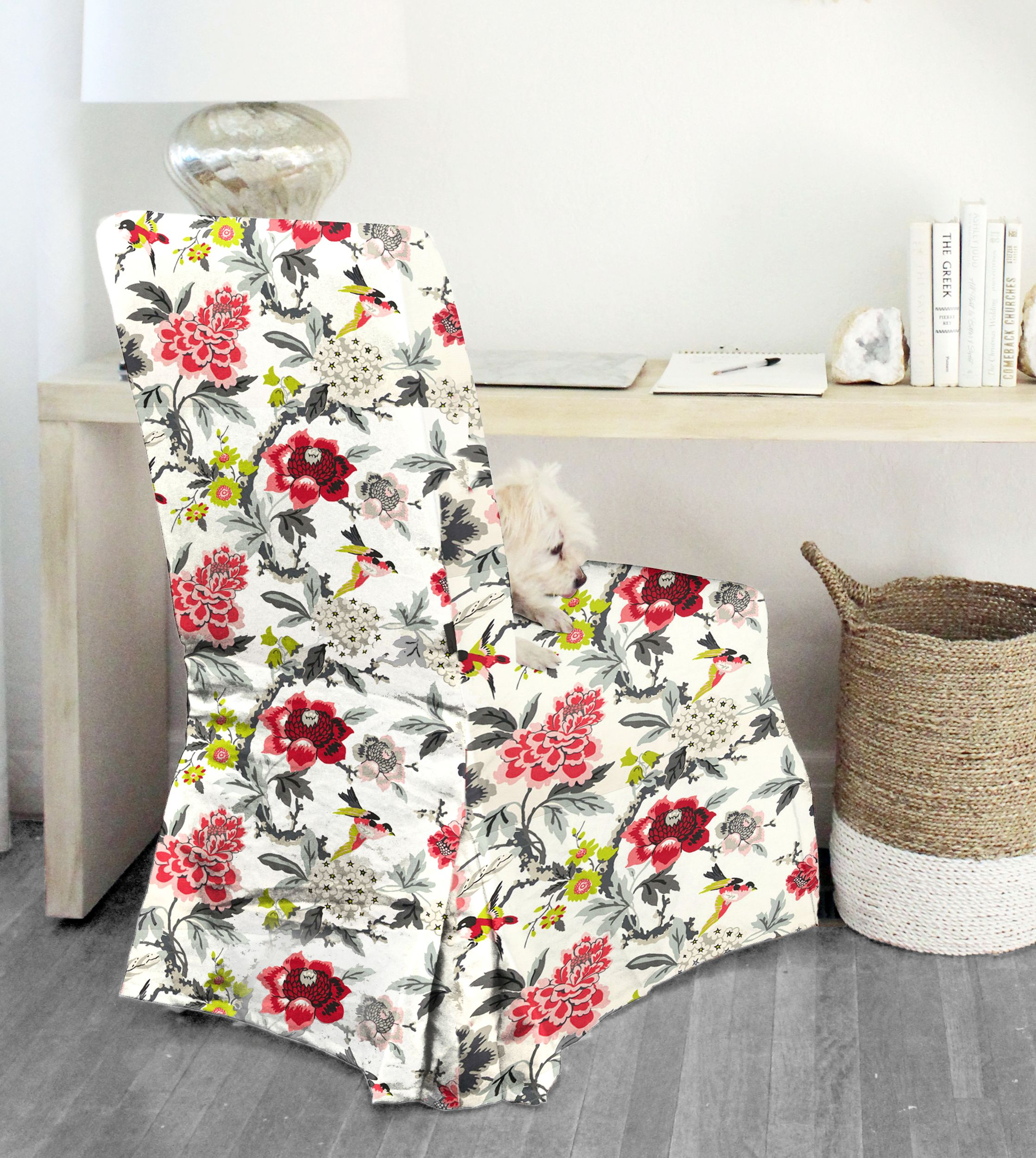 Colorful Flower IKEA HENRIKSDAL Chair Cover, White Ebony