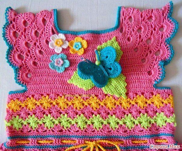 Crochet Baby Girls Rainbow Dress (Video)   Babykleidchen, Kleider ...